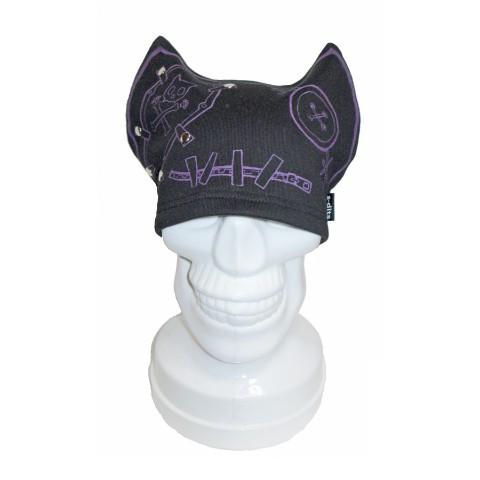 【s-dits】フェイスプリントネコ帽子(紫)