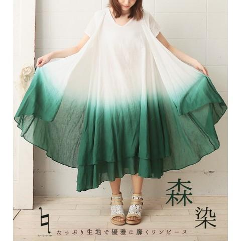 【favorite】海染ロングワンピース<美麗フレアシルエット>