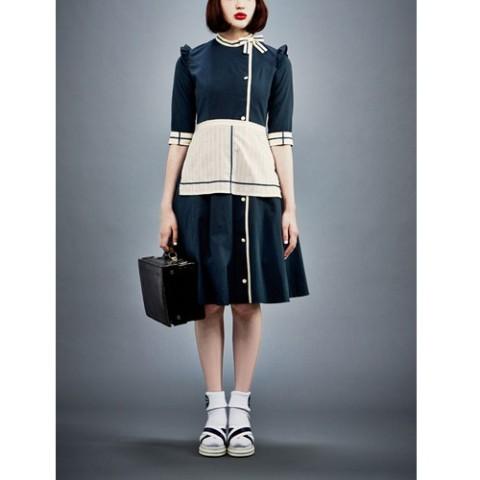 【空想メイド】ナースメイドワンピドレス(エプロン/ヘアアクセ/リボン付き) 1(9AR)