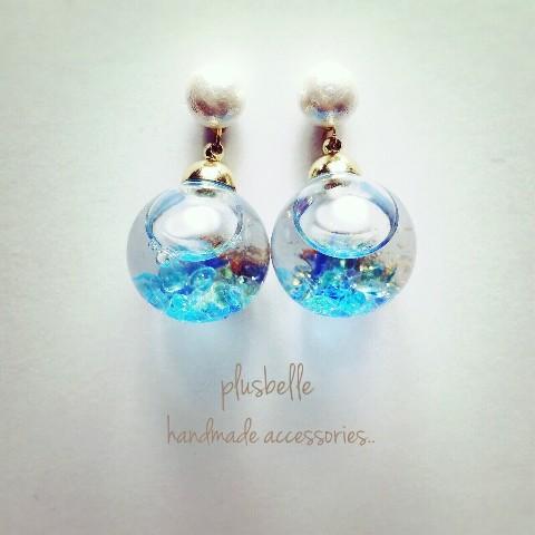 【plusbelle】ガラスドームコットンパールpierce blue
