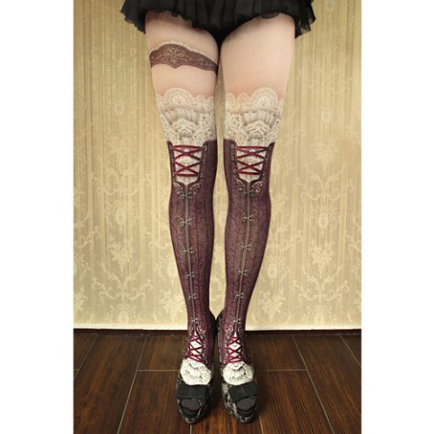 【abilletage】corset tights victorian-antique bordeaux-