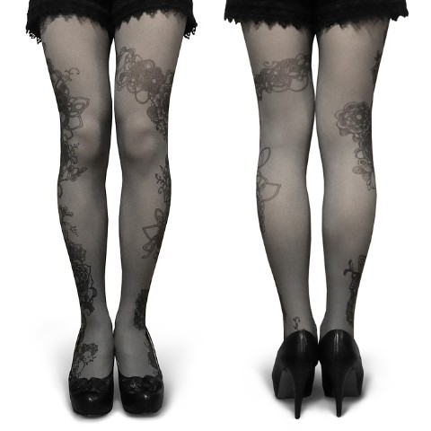 【abilletage】Tangle art tights -flow- (monochrome)<br>
