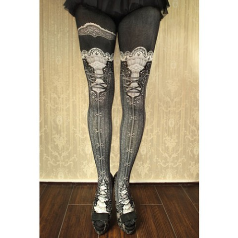 【abilletage】corset tights victorian-russian gray-