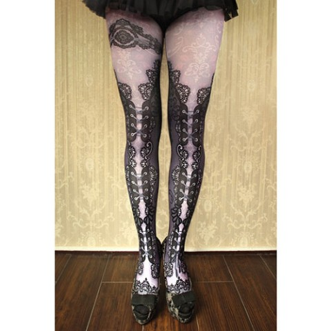 【abilletage】corset tights double lace-purple-