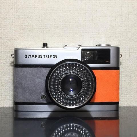 【リメイクカメラ】OLYMPUS TRIP35(グレー・オレンジ)