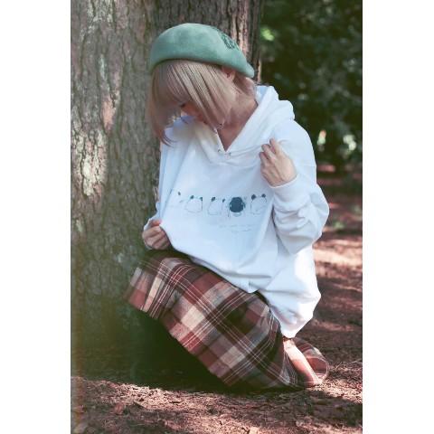 【000/おれそ】パンダになりたい子 パーカー(ホワイト)(Mサイズ)