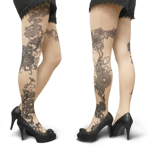 【abilletage】Tangle art tights -flow- (nude)